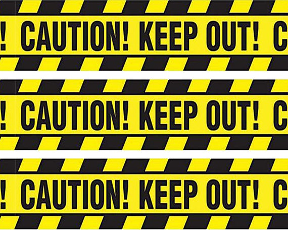 Caution Keep Out Birthday Side Strips ~ Edible 2D Fondant Birthday Cake Side Toppers ~ D24645