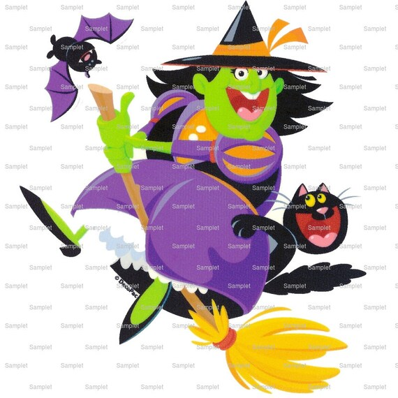 Witch on Broom Halloween - Edible Cake and Cupcake Topper For Birthday's and Parties! - D1367