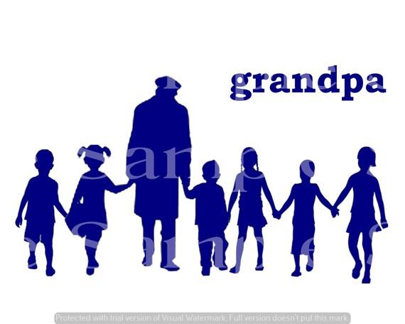 Blue Grandpa & Kids Silhouette Birthday ~ Edible 2D Fondant Birthday Cake/Cupcake Topper ~ D24610