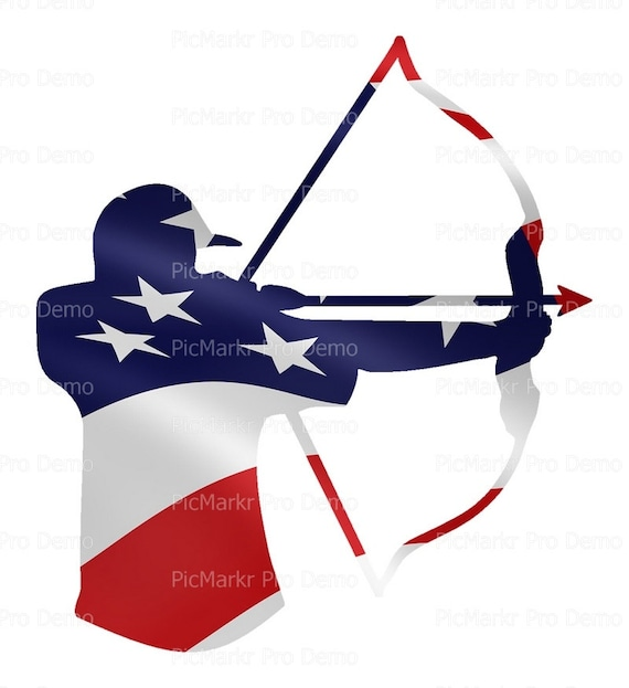Patriotic Bow Hunting ~ Edible 2D Fondant Birthday Cake/Cupcake Topper ~ D21603