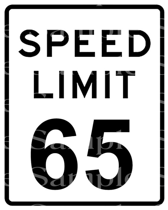 Speed Limit 65 Birthday ~ Edible 2D Fondant Birthday Cake/Cupcake Topper ~ D24470