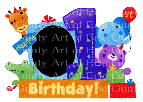Happy 1st Birthday Baby Shower ~ Edible 2D Fondant Birthday Photo Frame Cake/Cupcake Topper ~ D4146