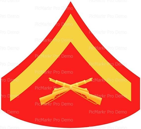 Marine Lance Corporal Military Insignia Birthday ~ Edible 2D Fondant Birthday Cake/Cupcake Topper ~ D20486