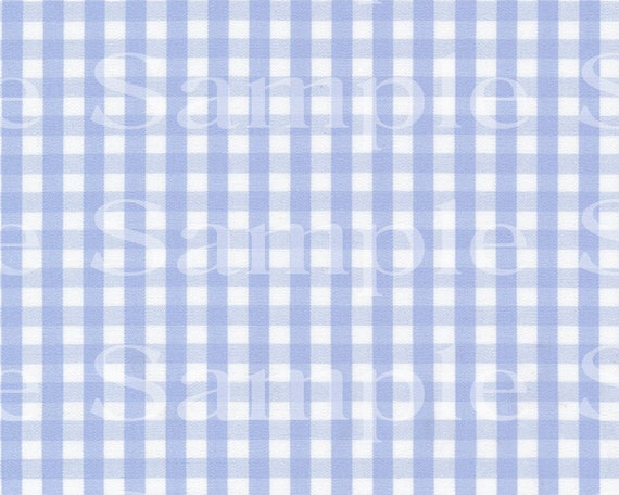 Baby Blue Gingham Checker Print Birthday - Edible 2D Fondant Cake Cupcake Topper For Birthdays and Parties! - D24406