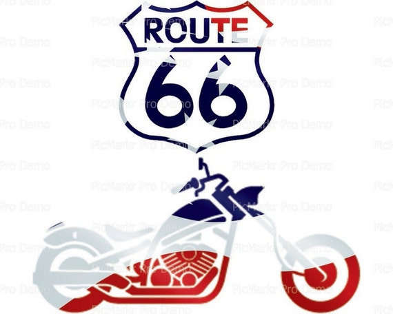 Route 66 Motorcycle - Edible Cake and Cupcake Topper For Birthday's and Parties! - D21693