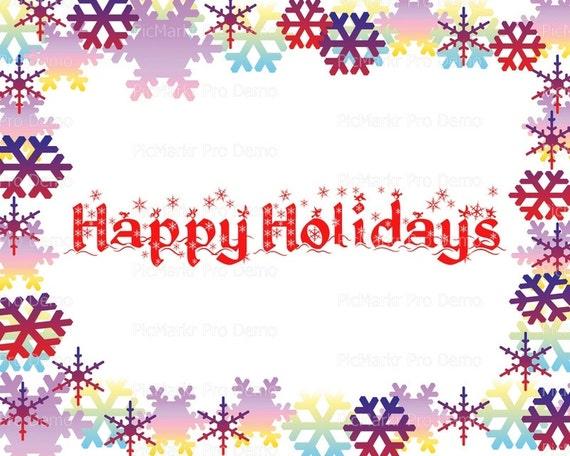 Happy Holidays Christmas ~ Edible 2D Fondant Birthday Cake/Cupcake Topper ~ D21799