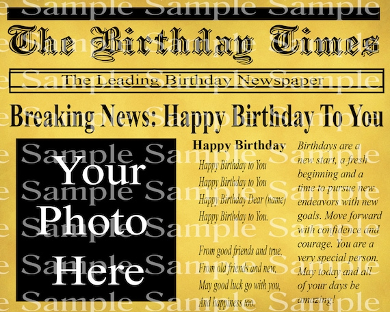 Breaking Newspaper Birthday - 2D Edible Cake & Cupcake Photo Frame For Birthdays and Parties! - D24309