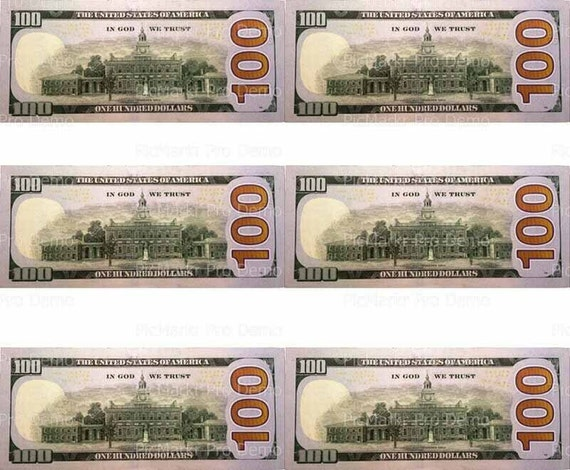 100 Dollar Bill Backs Background - Birthday - Edible Cake and Cupcake Topper For Birthday's and Parties! - D20161