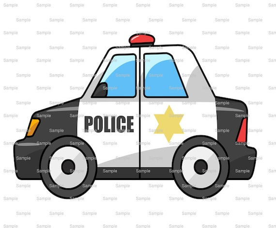 Cartoon Police Car Birthday Topper - Edible Cake and Cupcake Topper For Birthday's and Parties! - D9173