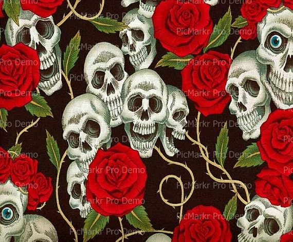Skulls and Roses Halloween ~ Edible 2D Fondant Birthday Cake/Cupcake Topper ~ D5844