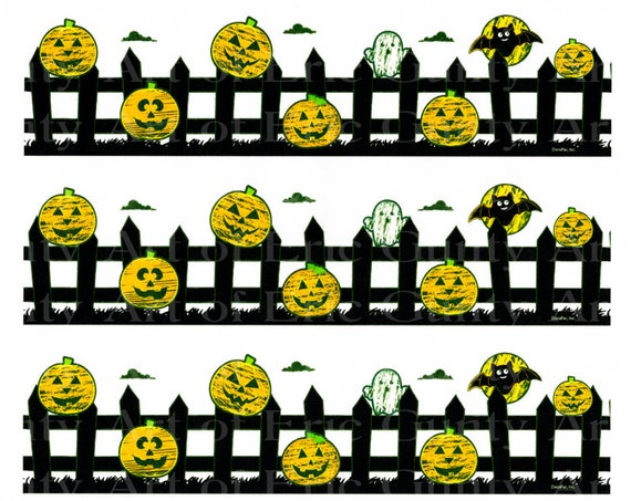 Halloween Pumpkins Ghosts Bats - Birthday Background - Designer Strips - Edible Cake Side Toppers- Decorate The Sides of Your Cake! - D22551