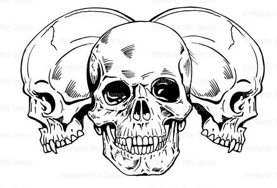Skulls Halloween ~ Edible 2D Fondant Birthday Cake/Cupcake Topper ~ D5817