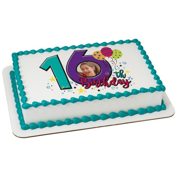 Happy 16th Birthday ~ Edible 2D Fondant Birthday Photo Frame Cake/Cupcake Topper ~ D24110