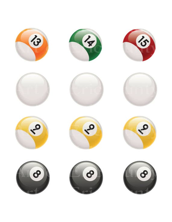 Pool Balls 13 to 15 Cue 9 & 8 Balls - Edible Cake and Cupcake Topper For Birthday's and Parties! - D22566