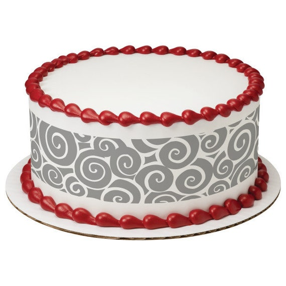 Grey Swirls Birthday - Edible Cake Side Toppers- Decorate The Sides of Your Cake! - D24106