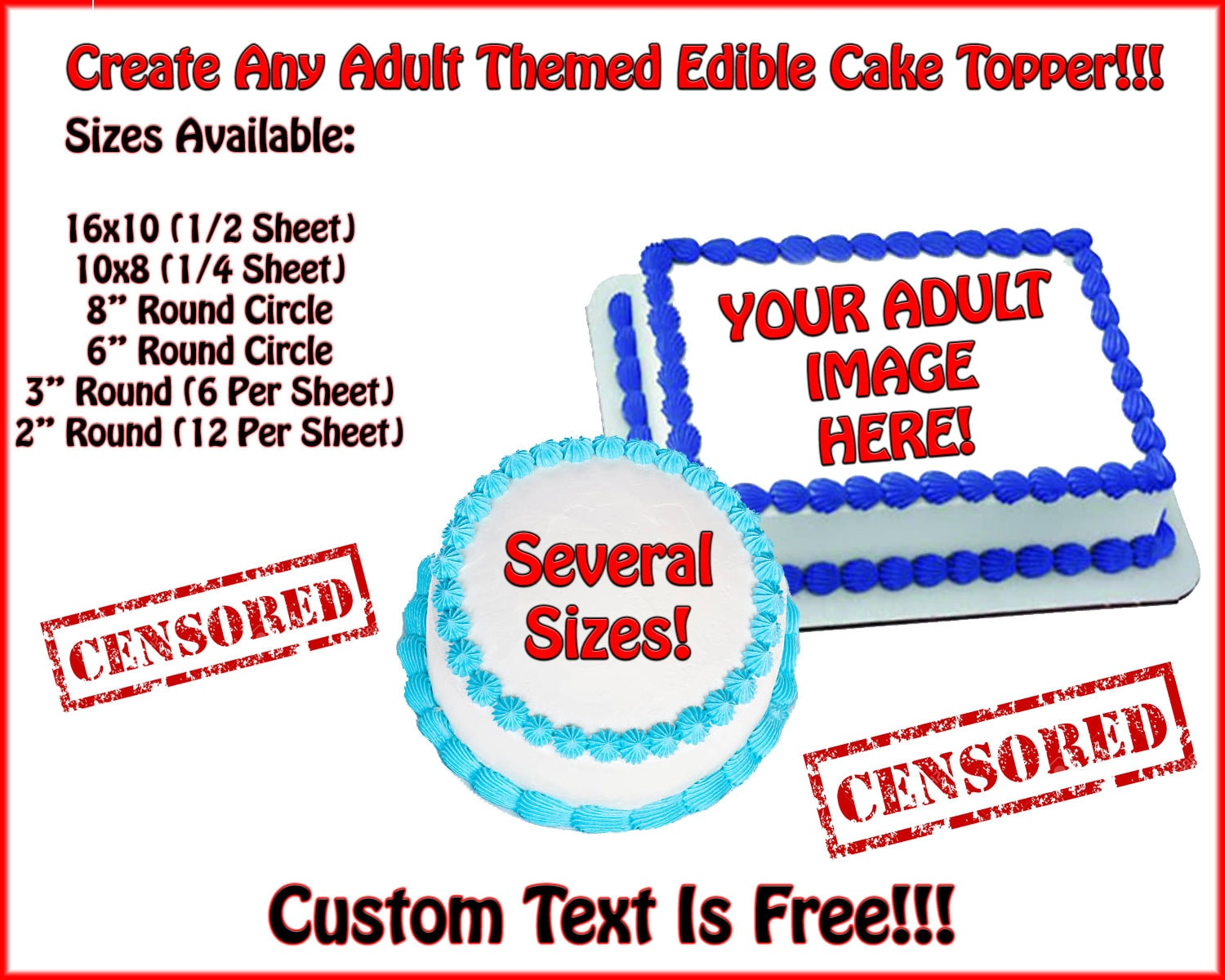 photo regarding Printable Edible Cake Toppers referred to as Grownup Themed Customized Posted Edible Cake or Cupcake