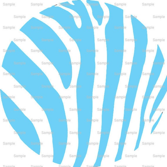 Light Blue Zebra Print - Background Birthday - Edible Cake and Cupcake Topper For Birthday's and Parties! - D9747