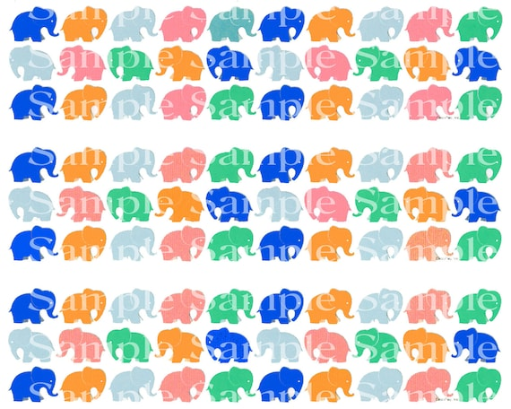 Colorful Elephants Birthday - Edible Cake Side Toppers- Decorate The Sides of Your Cake! - D24299