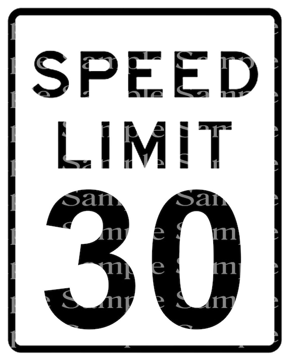 Speed Limit 30th Birthday Sign - 2D Fondant Edible Cake & Cupcake Topper For Birthdays and Parties! - DD24331