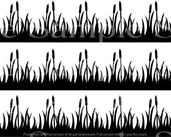 Duck Hunting Cattails - Birthday Background - Side Strips ~ Edible 2D Fondant Birthday Cake Side Toppers ~ D24629
