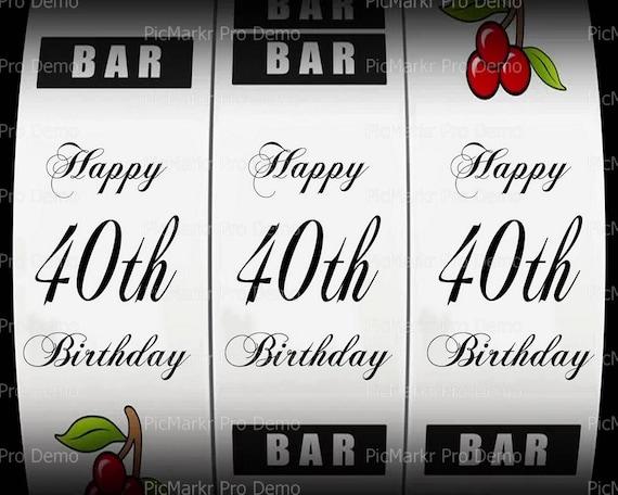 40th Birthday Casino Slot Machine ~ Edible 2D Fondant Birthday Cake/Cupcake Topper ~ D21866
