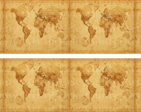 Old World Map - Side Strips ~ Edible 2D Fondant Birthday Cake Side Toppers ~ D22418