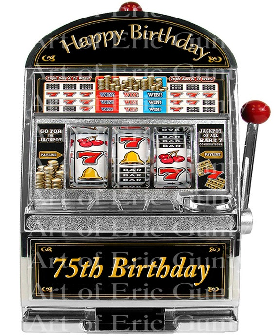 75th Birthday Casino Slot Machine - Edible Cake and Cupcake Topper For Birthday's and Parties! - D24159