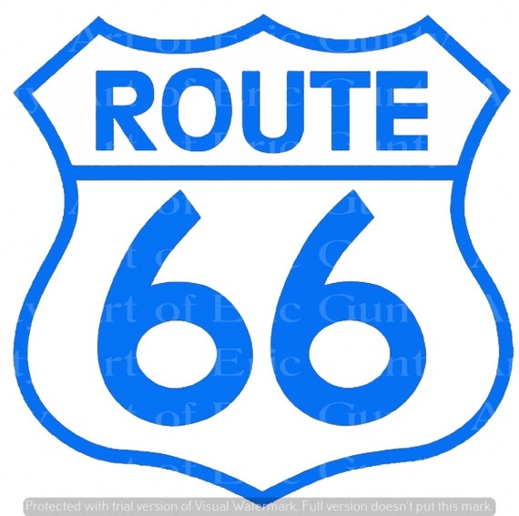 Blue Route 66 Sign Birthday - Edible Cake and Cupcake Topper For Birthdays and Parties! - D24142