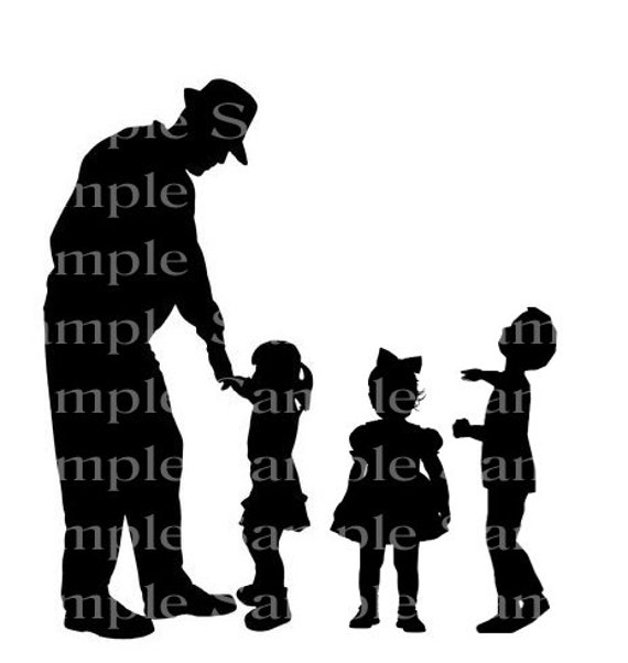 Grandpa With Grandkids Silhouette Birthday - Edible Cake and Cupcake Topper For Birthdays and Parties! - D24166
