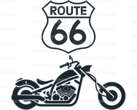 Route 66 Motorcycle - Edible Cake and Cupcake Topper For Birthday's and Parties! - D21691