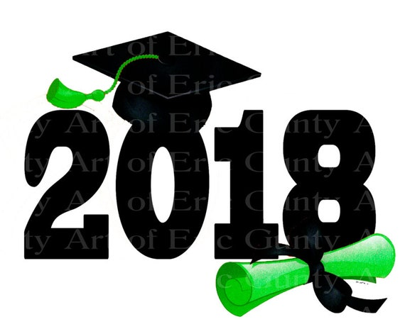 Green & Black  2018 Graduation Diploma Birthday - Edible Cake and Cupcake Topper For Birthday's and Parties! - D24045