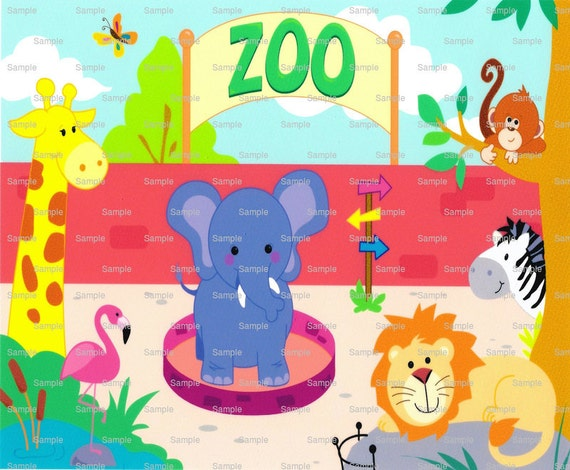 Baby Animal Zoo Birthday ~ Edible 2D Fondant Birthday Cake/Cupcake Topper ~ D712