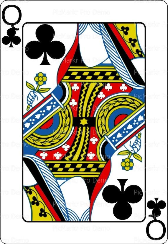 Casino Poker Queen of Clubs Birthday ~ Edible 2D Fondant Birthday Cake/Cupcake Topper ~ D21855