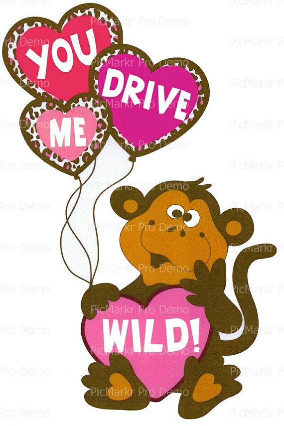 Valentine's Day Monkey Hearts Balloons - Edible Cake and Cupcake Topper For Birthday's and Parties! - D2849
