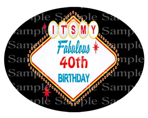 Las Vegas Fabulous 40th Birthday - 2D Fondant Edible Cake/Cupcake Topper For Birthdays and Parties! - D24400