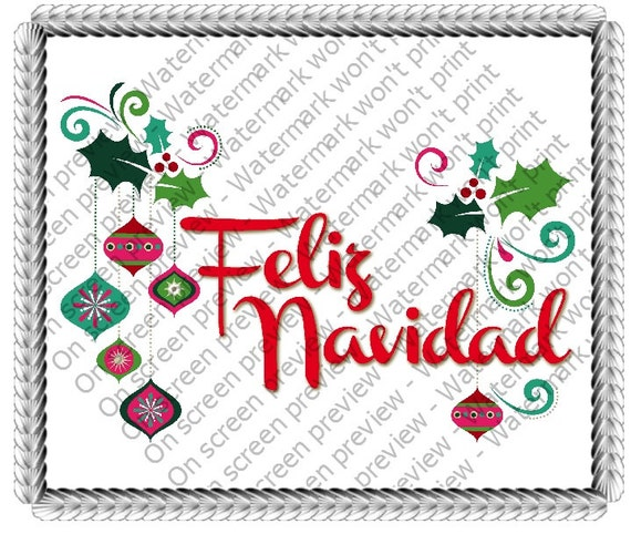 Christmas Feliz Navidad - Edible Cake and Cupcake Topper For Birthday's and Parties! - D-323