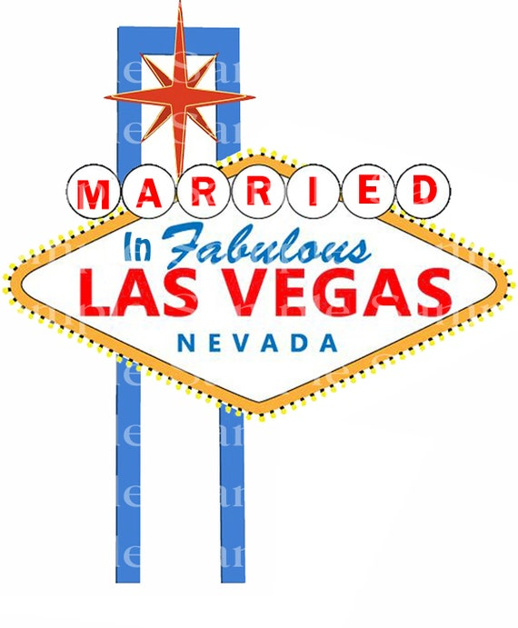 Married in Las Vegas Casino Birthday - Edible Cake and Cupcake Topper For Birthdays and Parties! - D24183