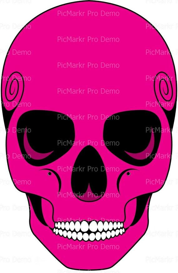 Magenta Skull Halloween ~ Edible 2D Fondant Birthday Cake/Cupcake Topper ~ D9911