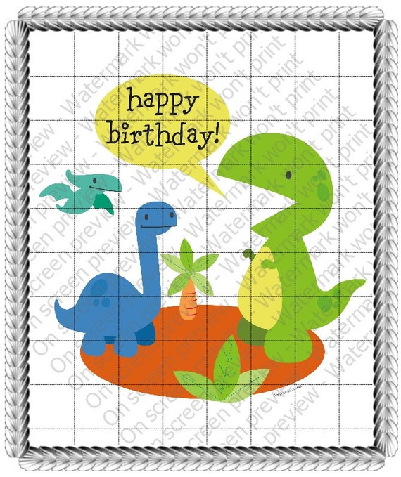 Little Dinosaurs Birthday - Edible Cake and Cupcake Topper For Birthday's and Parties! - D20515