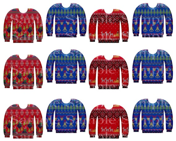 Christmas Sweaters ~ Edible 2D Fondant Birthday Cake Side Toppers ~ D24218