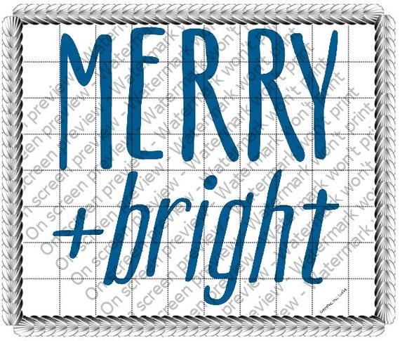 Merry & Bright Christmas ~ Edible 2D Fondant Birthday Cake/Cupcake Topper ~ D19181
