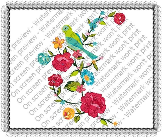 Bird on Blooming Branch Birthday ~ Edible 2D Fondant Birthday Cake/Cupcake Topper ~ D20586