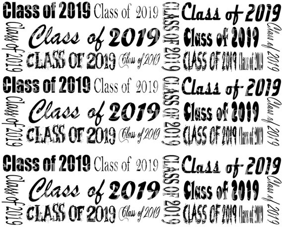 Class of 2019 Graduation - 2D Fondant Edible Cake Side Toppers- Decorate The Sides of Your Cake! - D24243