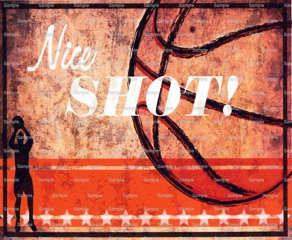 Nice Shot Basketball Birthday ~ Edible 2D Fondant Birthday Cake/Cupcake Topper ~ D3059