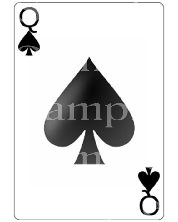 Queen of Spades Poker Card Las Vegas Casino Birthday ~ Edible 2D Fondant Birthday Cake/Cupcake Topper ~ D21958