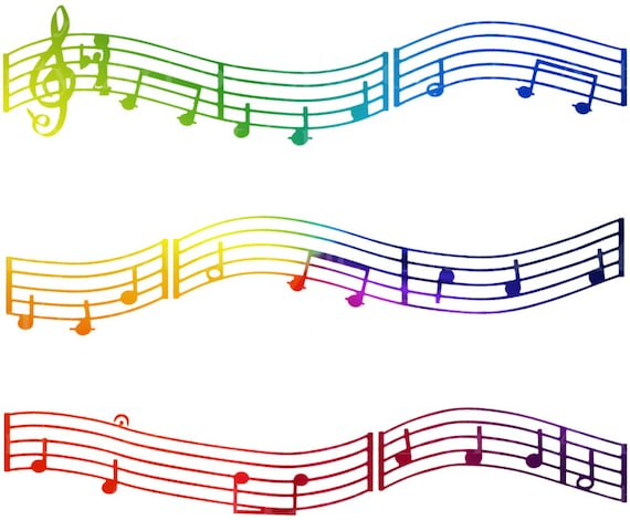 Colorful Music Notes - Side Strips - Edible Cake Side Toppers- Decorate The Sides of Your Cake! - D22422