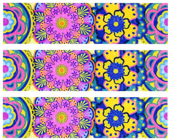 Peace Hippie - Birthday Background - Side Strips ~ Edible 2D Fondant Birthday Cake Side Toppers ~ D22214