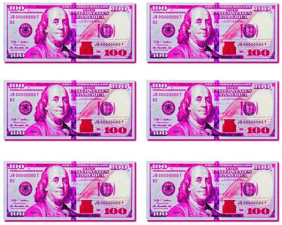Pink 100 Dollar Bill Casino Las Vegas Birthday ~ Edible 2D Fondant Birthday Cake Side Toppers ~ D24670