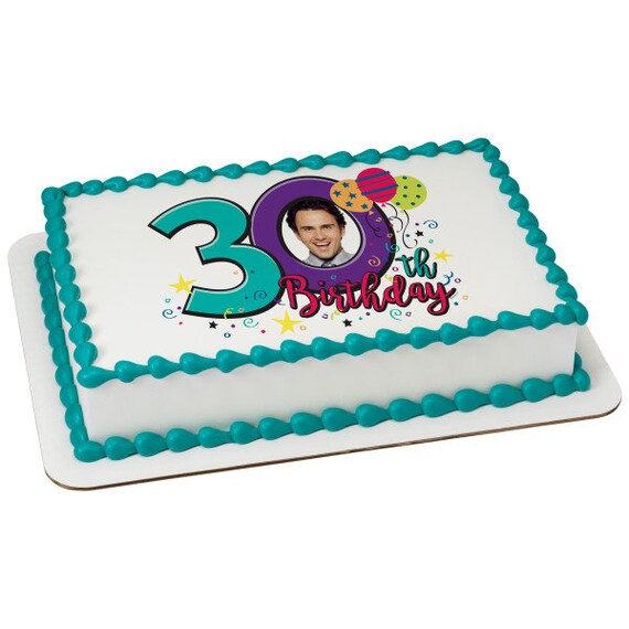 Happy 30th Birthday ~ Edible 2D Fondant Birthday Photo Frame Cake/Cupcake Topper ~ D24112