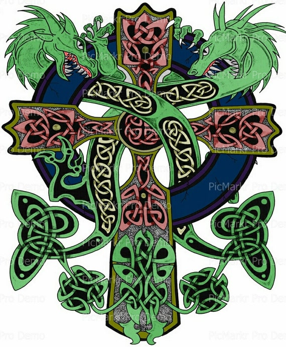 Celtic Cross with Dragons - Edible Cake and Cupcake Topper For Birthday's and Parties! - D9202